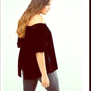 Plus size velvet off the shoulder black top